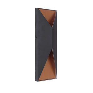 Peak Matte Black and Satin Brass 14-Inch Outdoor LED Pocket Sconce