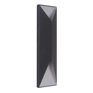 Peak Matte Black and Brushed Aluminum 18-Inch Outdoor LED Pocket Sconce