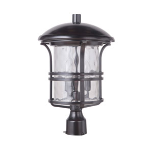 Courtyard Oiled Bronze 12-Inch Three-Light Outdoor Post Mount