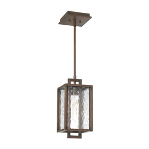 Cubic Aged Bronze Brushed 7-Inch One-Light Outdoor Pendant
