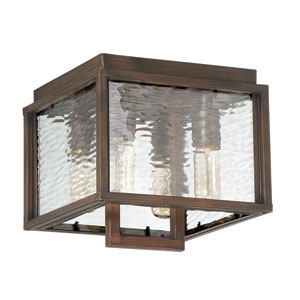 Cubic Aged Bronze Brushed 10-Inch Four-Light Outdoor Flush Mount
