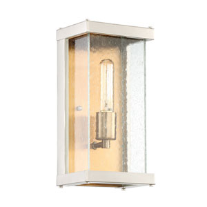 Farnsworth Brushed Nickel and Patina Aged Brass 6-Inch One-Light Outdoor Wall Mount