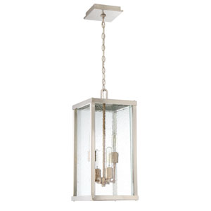 Farnsworth Brushed Nickel and Patina Aged Brass 10-Inch Four-Light Outdoor Pendant