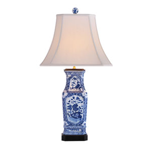 Blue and White Floral Vase Lamp