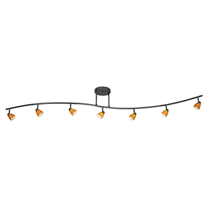 Serpentine Dark Bronze Seven-Light Halogen Track Light Glass Excluded