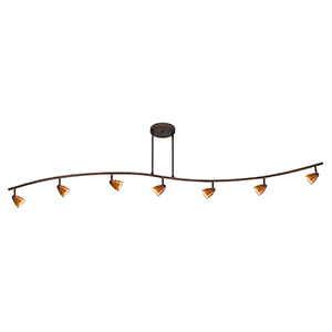 Serpentine Rust Seven-Light Halogen Track Light with Amber Spot Glass