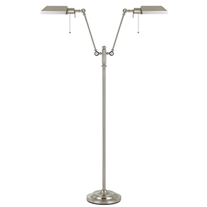Pharmacy Brushed Steel 62-Inch Two-Light Pharmacy Floor Lamp