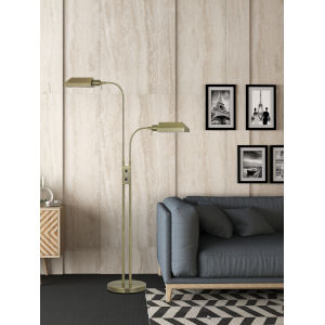 Pharmacy Antique Brass Two-Light Floor Lamp