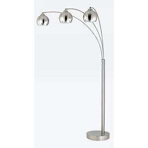 Arc Brushed Steel Three-Light Floor Lamp