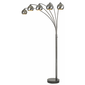 Antiqued Silver Five-Light Arc Floor Lamp