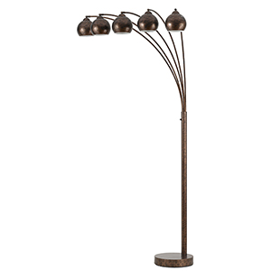 Metal Arc Rust Five-Light Floor Lamp