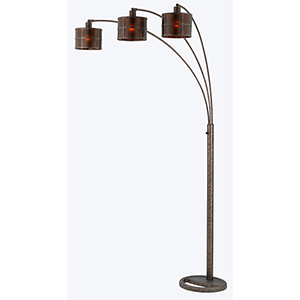 Mica RUST Three-Light Arc Floor Lamp