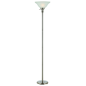 Brushed Steel One-Light Torchiere Lamp