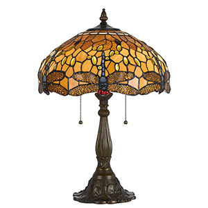 Tiffany Antique Brass Two-Light Table Lamp