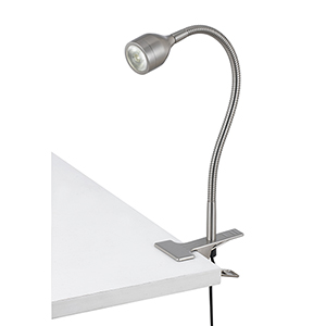 Brushed Steel One-Light Clip On Spot Light