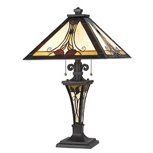Tiffany Dark Bronze Two-Light Table Lamp