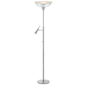 Chrome Two-Light Torchiere Lamp