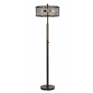 Dark Bronze with Wood One-Light Floor Lamp