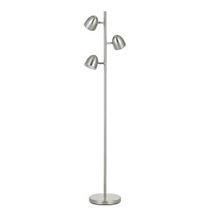 Brushed Steel Three-Light Floor Lamp