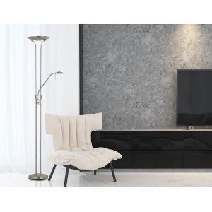 Pavia Brushed Steel Two-Light LED Floor Lamp