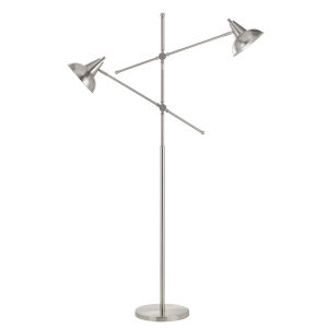Canterbury Brushed Steel Two-Light Floor Lamp