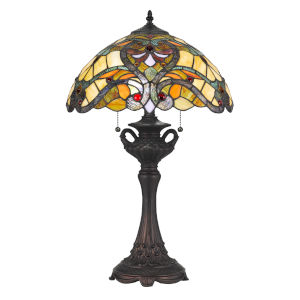 Tiffany Multicolor 15-Inch Two-Light Table Lamp