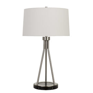 Halle Brushed Steel and Black One-Light Table lamp