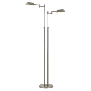Clemson Brushed Steel Two-Light Integrated LED Floor lamp