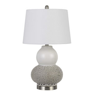 Aigio Gray and White One-Light Table lamp