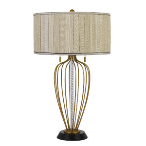 LaVal Antique Brass and Black Two-Light Table lamp