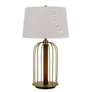 Sevran Antique Brass and White One-Light Table lamp