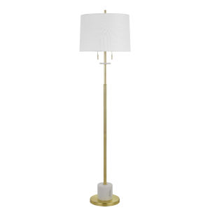 Lille Antique Brass and White Two-Light Floor lamp