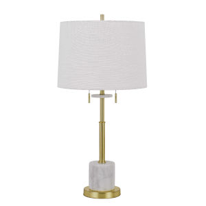 Lille Antique Brass and White Two-Light Table lamp