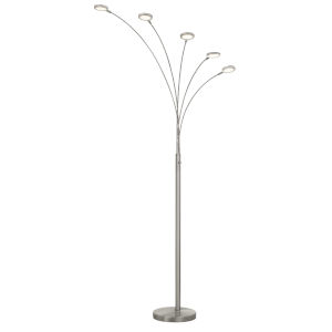 Cremona Brushed Steel Five-Light LED Floor Lamp