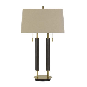 Avellino Antique Brass and Expresso Two-Light Desk lamp
