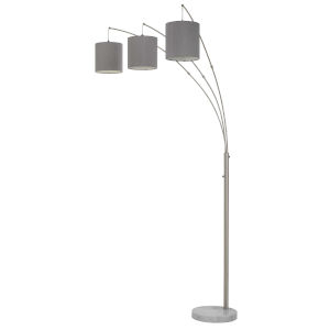Lyndon Brushed Steel Three-Light Floor Lamp