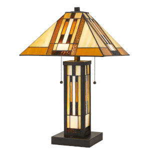 Tiffany Dark Bronze Three-Light Table Lamp