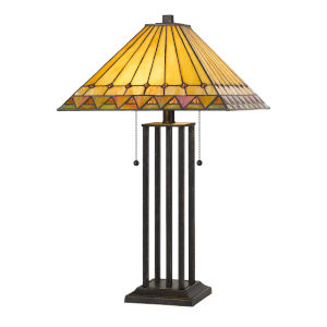 Tiffany Dark Bronze 24-Inch Two-Light Table lamp