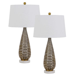 Mankato Distressed Silver Two-Light LED Table Lamp, Set of Two