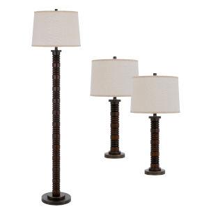 Northfield Wood Three-Light LED Table and Floor Lamp, Set of Three