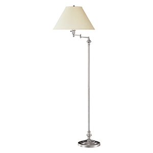 Swing Arm Brushed Steel One-Light Floor Lamp