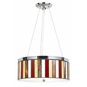 Tiffany Chrome Three-Light Drum Pendant
