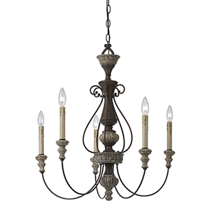 Williams Rust and Dapple Gray Five-Light Chandelier