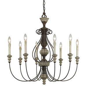 Williams Rust and Dapple Gray Eight-Light Chandelier