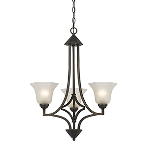 Metal Dark Bronze Three-Light Chandelier