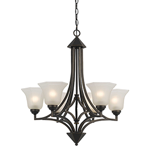 Metal Dark Bronze Six-Light Chandelier