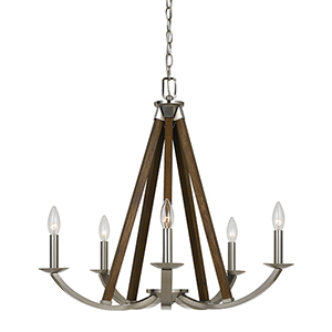 Monica Brushed Steel Five-Light Chandelier