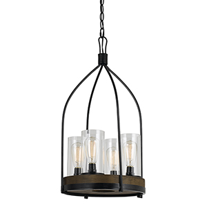 Chardon Iron and Wood 15-Inch Four-Light Chandelier