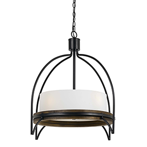 Chardon Iron and Wood 28-Inch Four-Light Chandelier
