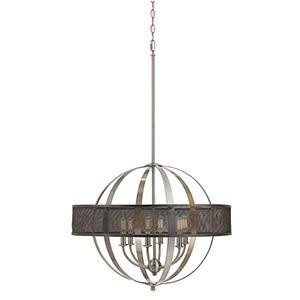 Willow Brushed Steel Six-Light Chandelier